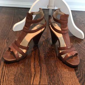 Franco Sarto cognac leather strappy heeled sandal